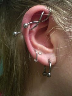 150+ Industrial Piercing Examples, Jewelry, Pain, Cost, Healing cool Check more at http://fabulousdesign.net/industrial-piercing/
