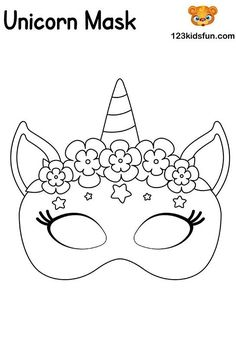 Unicorn Mask - Free Printable Mask Template - Coloring for Kids. Mardi Gras Mask Template, Masquerade Mask Template, Masquerade Masks, Printable Animal Masks, Unicorn Printables, Animal Mask Templates, Free Printables, Fun Printables For Kids, Printable Crafts