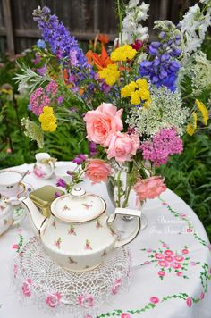 Tea and flowers from the garden!