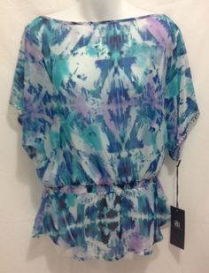 Small ROCK & REPUBLIC Top Sheer Studded Dolman Sleeve S Polyester Multi-Color  #RockRepublic #KnitTop