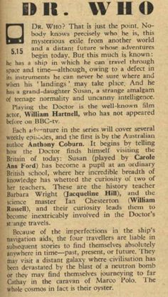 Early review of of Dr. Who:  November 23, 1963.