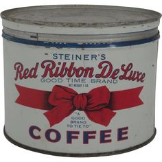 Red Ribbon Deluxe Coffee Can Coffee Canister, Coffee Tin, Coffee Is Life, I Love Coffee, Vintage Tins, Vintage Coffee, Antique Coffee Grinder, Coffee Grinders, Coffee Container