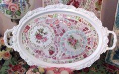 Gorgeous White Shabby Mosaic Tray by hillspeak, via Flickr