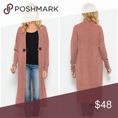 LAST 2!! long front hook ribbed sweater duster! A must have ribbed sweater duster in beautiful amber with front closure- we love😊 Ships Monday!! Sweaters Cardigans