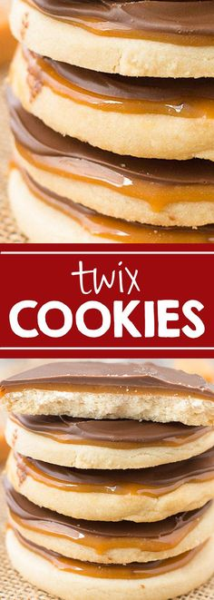 The BEST TWIX COOKIES. Our family loves to make these a big batch of this cookie dough for the holidays. #cookies #food #christmas