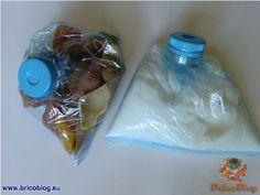 ordenando la alacena con reciclado de botellas