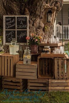 Love the piled crates and the chalkboard window! rustic country old crates wedding drink bar Farm Wedding, Rustic Wedding, Dream Wedding, Wedding Country, Wedding Bells, Wooden Crates Wedding, Deco Champetre, Old Crates, Bar Drinks