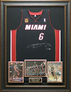 lebron james autographed mvp patch miami heat jersey framed