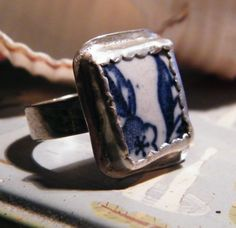 Genuine Sea Glass Blue Willow Pottery Shard Ring in Sterling