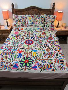 Mexican patterns - Otomi fabric and textiles for home decoration by Mexico Culture.