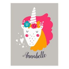 Unicorn Magical Girly and Cute Postcard - postcard post card postcards unique diy cyo customize personalize