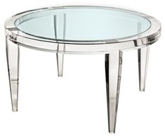 Round coffee table crafted with LuciteLux®