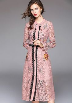 Now available    Lace Hollow Embro...  Shop Now  http://nbrandfashion.com/products/lace-hollow-embroidery-a-line-dress-nr1173-pnk?utm_campaign=social_autopilot&utm_source=pin&utm_medium=pin