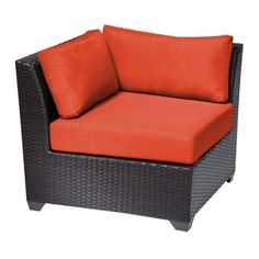 Barbados Corner Sofa 2 Per Box. Sink into the plush cushions comfortably fitted between our Barbados curved arms. Espresso-colored all-weather rattan is expertly hand woven, wrapping every inch of the durable aluminum frame. Sturdy rust-resistant powder coated feet are color matched to table tops. Thick all-weather cushions are enveloped in fade resistant acrylic upholstery.Features:CUSHIONS - 6 inches thick for a luxurious look and feelCUSHION COVERS - Washable and zippered...