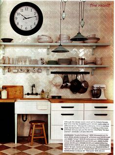 White Rustic Kitchen, open shelves, pendant lights, oversized clock
