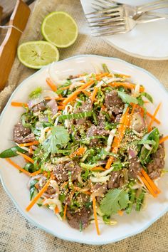 You know how anchovies go so well with lamb? Well it's the same with oyster sauce, which provides a delicious savoury 'umami' flavour. This salad uses finely shredded raw bok choy, which adds lots of freshness with a bit of … Continued Meat Recipes, Asian Recipes, Dinner Recipes, Cooking Recipes, Healthy Recipes, Ethnic Recipes, Healthy Meals, Recipies, Meals Without Carbs