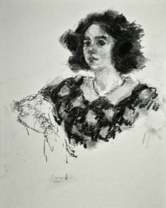 Janie - original charcoal portrait drawing of a young woman