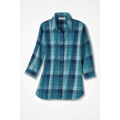 French Blue Plaid Easy Care Shirt (2.245 UYU) ❤ liked on Polyvore featuring tops, tartan top, placket shirt, curved hem shirt, blue top and tartan plaid shirt