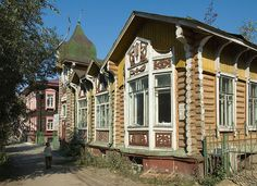 The house with bay window in Tomsk, Siberia
