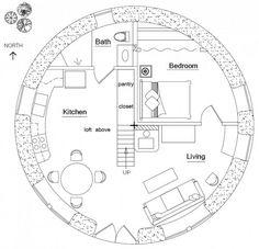 "HOBBIT HOUSE Plan - 24-6"" diameter with 471 sq. ft. interior, 471 sq. ft. loft, total 942 sq. ft. interior, one bedroom, one bath; footprint: 27-6"" x 27-6″"