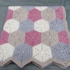 Beautiful babygirl hexagon blanket.
