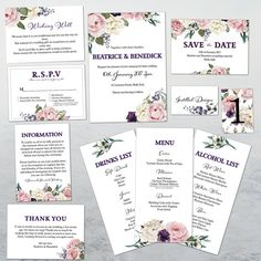 Wedding Stationary Invitations Set PRINTABLE DYI CUSTOM Invitation Set, Wedding Stationary, Etsy Store, Dyi, Alcohol, Printable, Personalized Items, Handmade Gifts, Rubbing Alcohol