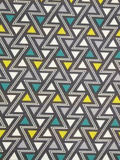 Gray Teal Yellow Upholstery Fabric by the Yard Geometric Fabric Yardage Modern Turquoise Fabric