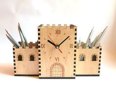 Laser cut pencil holder CASTLE with clock is one of the decorative idea for interior and gift idea. The wood pencil holder is etched and cut into 6