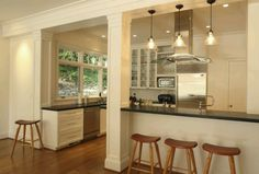 Love these colums & trim wood work
