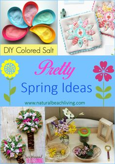 Pretty Spring Ideas to get you and your kids in a happy colorful mood, crafts, sensory play, flowers, nature tables with natural materials, and Handiwork