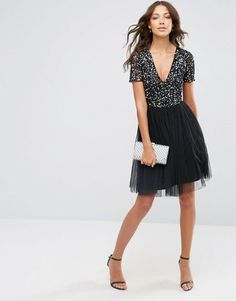 Maya Tall | Maya Tall V Neck Midi Tulle Dress With Tonal Delicate Sequins