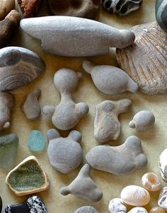 CLAY BABIES Found only on the private beaches of Fox Island, WA. These rounded masses of hardened clay can be found in the shape of birds, fish, bears, humans and more. The 'clay baby' masses are formed from a particular type of fine-grained, firm clay deposits found on the beach. They are then exposed to waves, tidal action and sun, which offer the perfect ingredients needed to create unusual shapes.