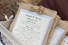 Burlap Wedding Programs- Must have with blue background and the light purple for the front paper October Wedding, Fall Wedding, Diy Wedding, Wedding Events, Dream Wedding, Decor Wedding, Wedding Lavender, Wedding Cards, Wedding Reception