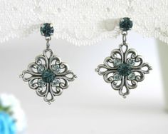Art Deco Sapphire Silver Dropp Earrings Filigree Blue Swarovski Crystal Jewelry