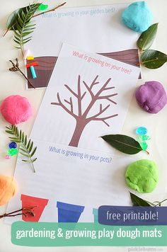We did a little play dough gardening today with these free printable play dough mats. Download them and grow something in your play dough garden.