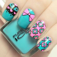 15 Stamping Nail Designs You Must Have - Pretty Designs, 15 Stamping Nail Designs You Must Have - Pretty Designs. Pastel Nails, Yellow Nails, Purple Nails, Gold Nails, Neon Nails, Nagel Stamping, Stamping Nail Art, Nail Designs Spring, Nail Art Designs