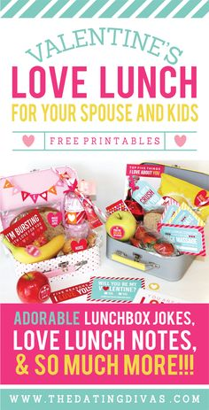 QUICK and EASY idea for Valentine's day – an adorable LOVE LUNCH!!! These printables are so stinkin' cute! There are even two sets (one for the kids and one for the hubby). Can't wait to put these together! www.TheDatingDivas.com