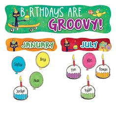 Birthdays Are Groovy when you celebrate with Pete the Cat! Includes main birthday header, 12 month headers, and 36 pieces for student names. Set of 49 pieces.