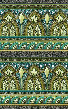 Deco Elegance - Royal Fan Stripe - Teal/Gold. Fabric from eQuilter.com