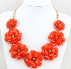 Red Flower Statement Necklace, Bib Necklace, Chunky Necklace