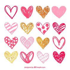 Эскизные розовые сердца пакет Бесплатные векторы