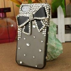 3D Crystal iPhone Case for AT Verizon Sprint Apple iPhone 4\ 4S Black Bow: Cell Phones & Accessories