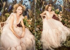 Whimsical, lively, and oh so romantic! This blush Marchesa gown embraces sweet femininity with a touch of magic!