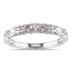 Miadora 10k White Gold 1/10ct TDW Diamond Wedding Band (G-H, I1-I2) | Overstock.com Shopping - The Best Deals on Women's Wedding Bands