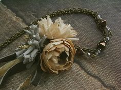 petit bouquet necklace  neutral  hand dyed by kikosattic on Etsy, $46.00