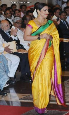 Vidya Balan in Yellow Sari 2014 Bollywood Girls, Bollywood Saree, Indian Bollywood, Beautiful Bollywood Actress, Beautiful Indian Actress, Indian Attire, Indian Wear, Indian Dresses, Indian Outfits