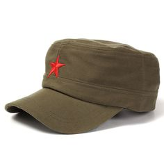 b3f4a856610 Unisex Red Star Cotton Army Cadet Military Cap Adjustable Hat Women s Hats