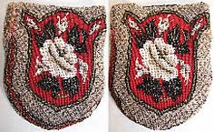 Victorian Civil War Era Beaded Needlepoint Magnolia Pouch Purse Made Of Red Wool Background, Crystal, White, Black And Gold Steel Cut Beading Done In A Hand Beaded Magnolia Flower And Leaf Pattern, With Drawstring Closure And Fully Lined In Fuchsia Pink Silk Velvet Lining   c.1860's