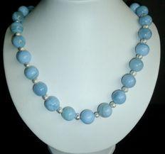 Collier d'Agate bleue, grande perles 14 mm