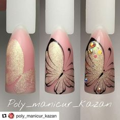 23 Butterfly nail art - nails - Lilly is Love Butterfly Nail Designs, Butterfly Nail Art, Nail Art Designs, Gel Polish Designs, Nails Design, Diy Nails, Cute Nails, Pretty Nails, Manicure Steps